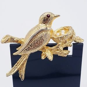Vintage TRIFARI Gold Tone Bird with Nest Brooch